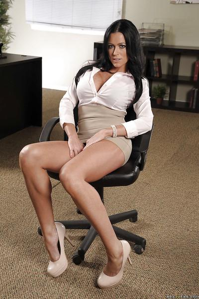 Ravishing office babe with jaw-dropping big tits stripping off her clothes