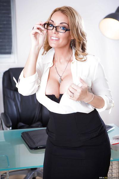 Chesty blonde mom Stacey Saran strutting in nylons and glasses