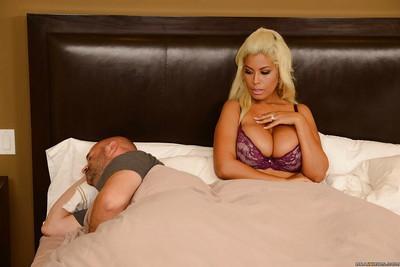 Busty blonde bombshell Bridgette B getting cum all over her boobs