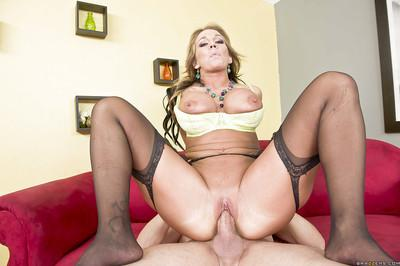 Busty MILF in stockings Nikki Sexx gets her shaved cunt slammed