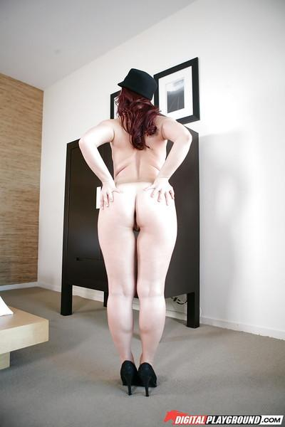 Russian fatty redhead babe Olga Cabaeva shows her amazing big ass