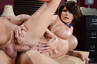 Glamorous office MILF gets shafted tough and tastes some hot cum