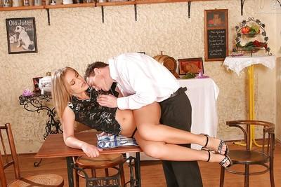 Sexy blonde MILF Colette W riding cock cowgirl style in high heels