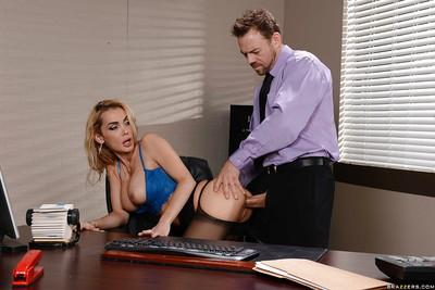Beautiful office MILF Devon having fun with two dicks in her mouth