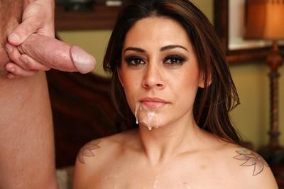 Desirable latina MILF in stockings gets shagged hard and facialized