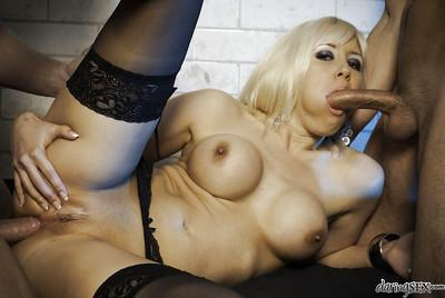 Busty blonde in stockings Karlie Simon gets blowbanged and double penetrated