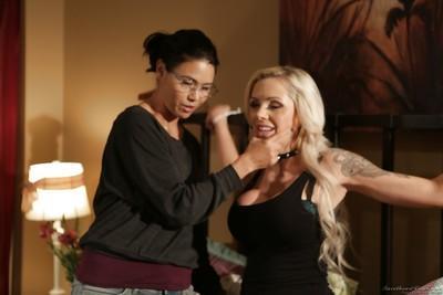 Interracial lesbians Dana Vespoli and Nina Elle tongue kissing