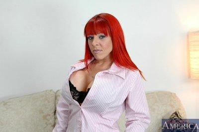 Fiery MILF Whitney Wonders revealing smashing tits from lace underwear