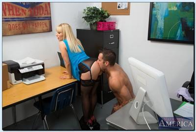 Salacious office slut Ashley Fires gives head and gets shagged hard