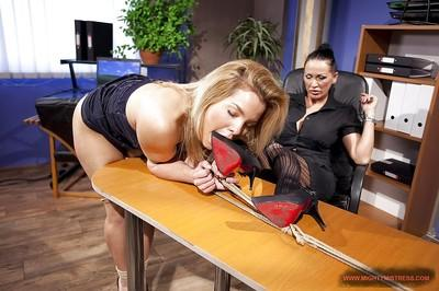 Gorgeous femdom Mandy Bright torturing her seductive slave with hot ass