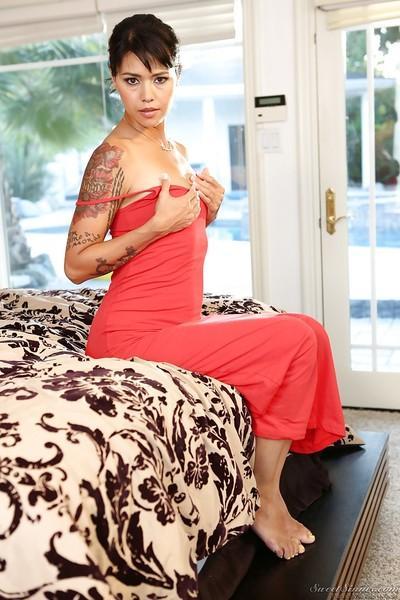 Tattooed pornstar Dana Vespoli slipping off her dress and panties