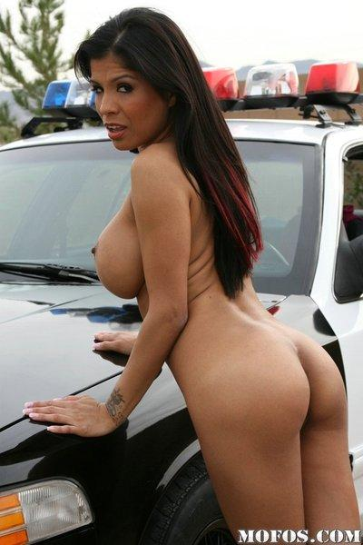 So fuckin hot milf with wonderful ass posing outdoor near police car