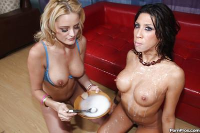 Gorgeous latina MILF Kayla Carrera gets bukkaked and creampied