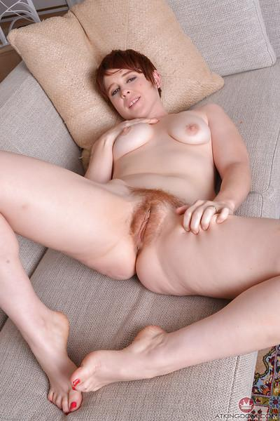 Redhead MILF Lily Cade spreading hairy cooter after bikini removal