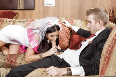 Brunette Milf bride India Summer gives a handjob and takes a cumshot
