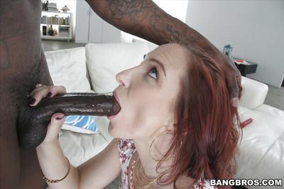 MILF slut Sophia Locke taking big black cock in mouth on her knees