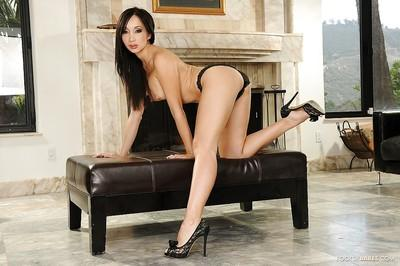 Good Asian milf with long legs Katsuni licks her own feet and toes