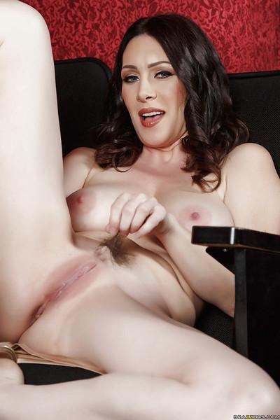 Brunette mom RayVeness strips off sexy black underwear to bare bald cunt