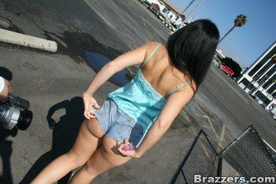 Insanely sexy latina Luscious Lopez flashing tits and booty in public