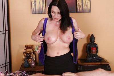 Fully clothed masseuse RayVeness undresses for happy ending cumshot