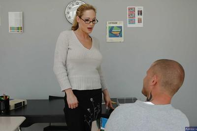 Sexy teacher has her milf pussy fucked hard and big tits teased