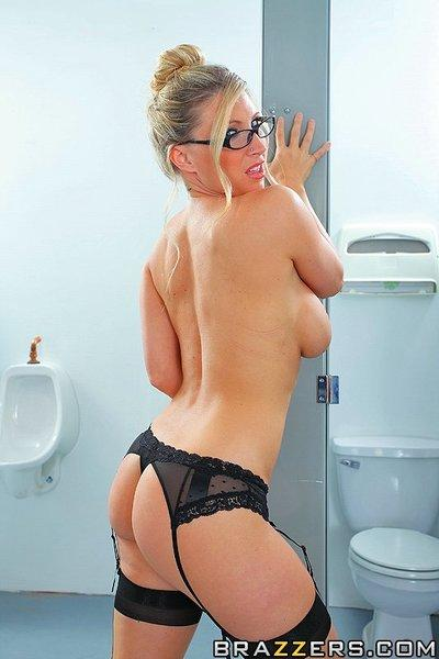 Hot lady in glasses Devon Lee gets screwed in the public restroom
