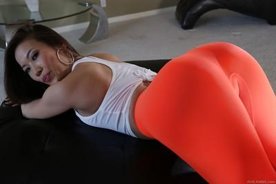 Asian MILF Kalina Ryu pulling down yoga pants to expose booty