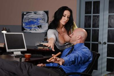 Busty office worker Jayden Jaymes pinching own nipples while seducing mate