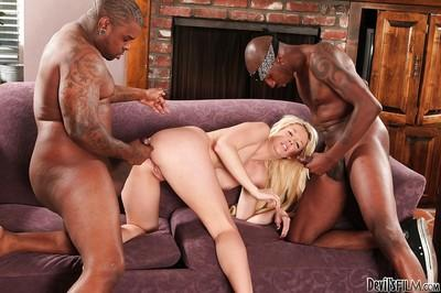 Interracial gangbang with perverted slut blonde Courtney Taylor