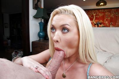 Blonde bombshell Summer Brielle on knees giving blowjob to thick penis