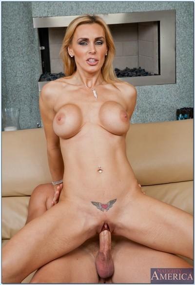 MILF babe with big tits Tanya Tate giving a blowjob and ass fucking