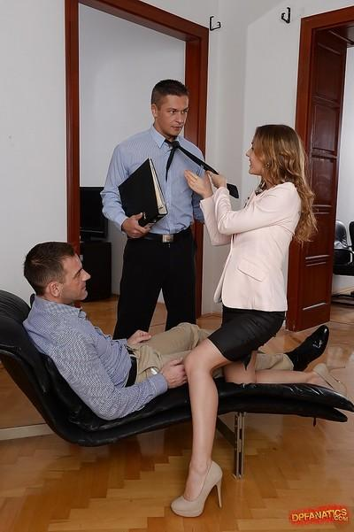 Slutty office worker Sabrina Moore taking hardcore double penetration