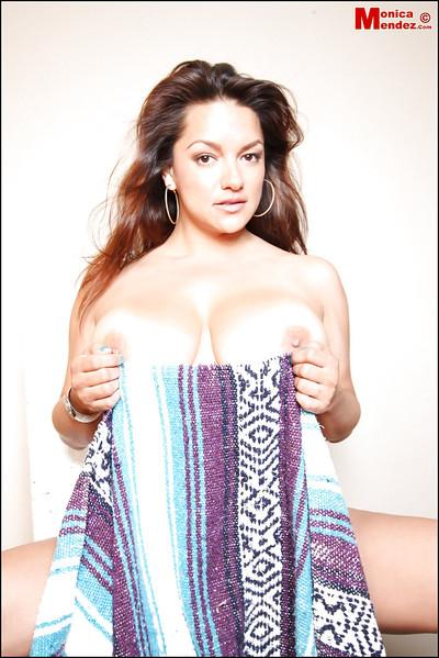 Big-tit Latina Monica Mendez demonstrates her great big boobies