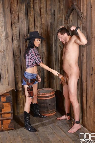 European Femdom and fetish model Jasmine Jae licks balls and cock