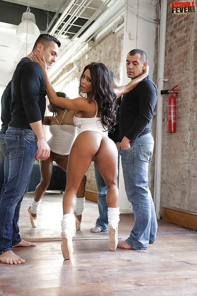 Filthy black slut Kiki Minaj taking hardcore DP from two white cocks