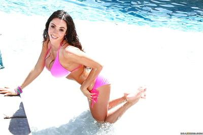 Juggy MILF taking off her bikini panties and teasing her gash at the poolside