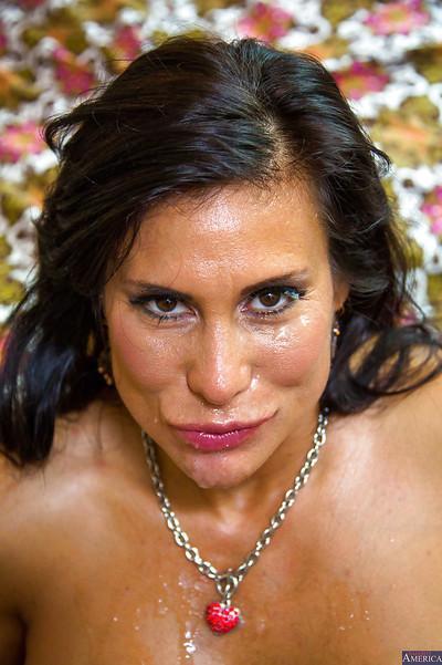 Brunette milf Monique Alexander dose a fantastic blowjob to her lover