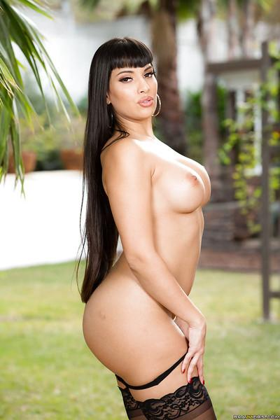 Mexican solo girl Mercedes Carrera showing off large MILF pornstar tits