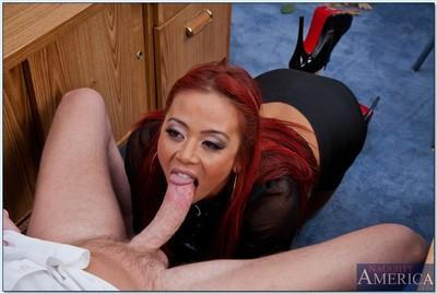 Hot asian MILF Mia Lelani gets her pussy licked and stretched by a big cock