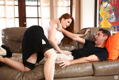MILF Allison Moore stroking cock in skirt and stockings with garters