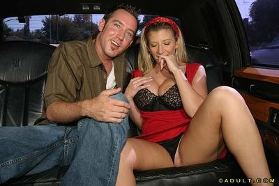 Top-heavy blonde MILF gets tricked into blow and titjob in the car