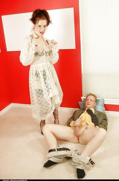 Horny mature femdom torturing a guy