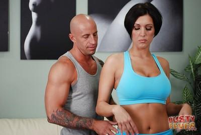 Great brunette MILF Dylan is giving a smashing yoga blowjob