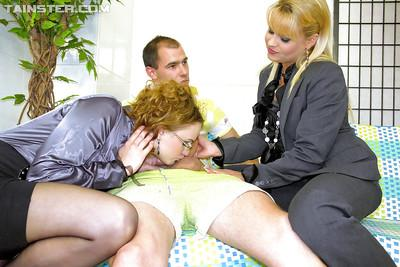 Horny piss slut Barra Brass enjoys wet CFNM groupsex with her friends