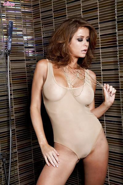 Smoking hot MILF Emily Addison fingering her twat in the shower