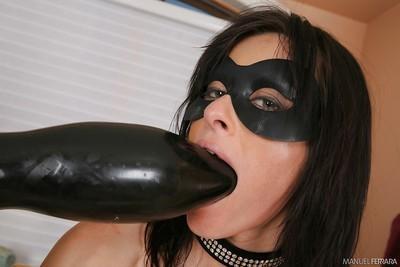 Milf pornstar Cecilia Vega banging with gigantic black dildo