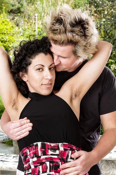 Hairy amateur housewife Kinky Gaga baring hairy armpits outdoors