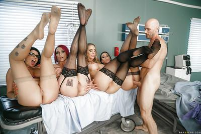 Pornstar Anna Bell Peaks and horny girlfriends star in reverse gangbang