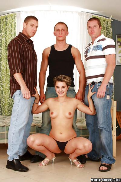 Crazy gangbang scene featuring an adorable milf cowgirl Dillon Day