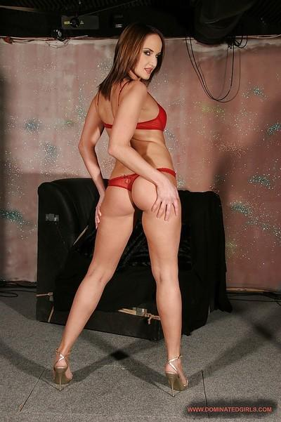 Seductive MILF with sexy ass Andy Brown slipping off her red lingerie
